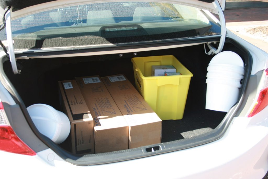 close up outreach stock in car